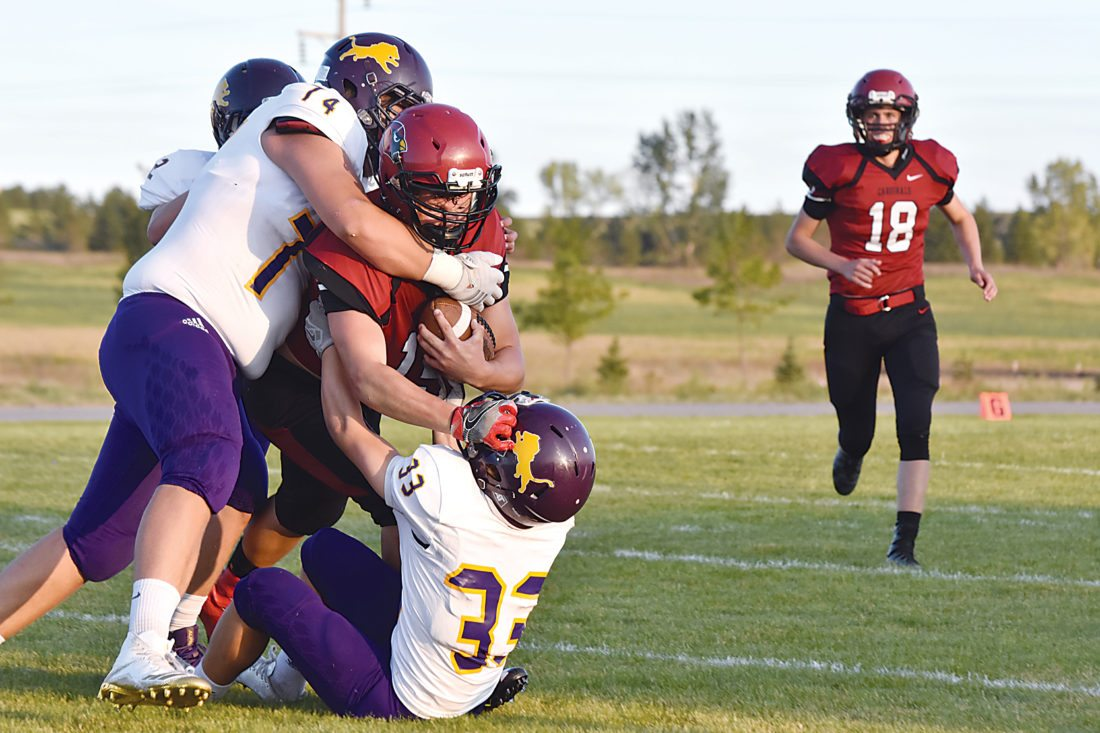 Nedrose running back Duncan Pryor (15) is tackled by Bishop Ryan's Logan Merck (33) and Chris Sowitch (74) at a high school football game Friday in Minot. Ryan beat Nedrose 44-6.  Garrick Hodge/MDN