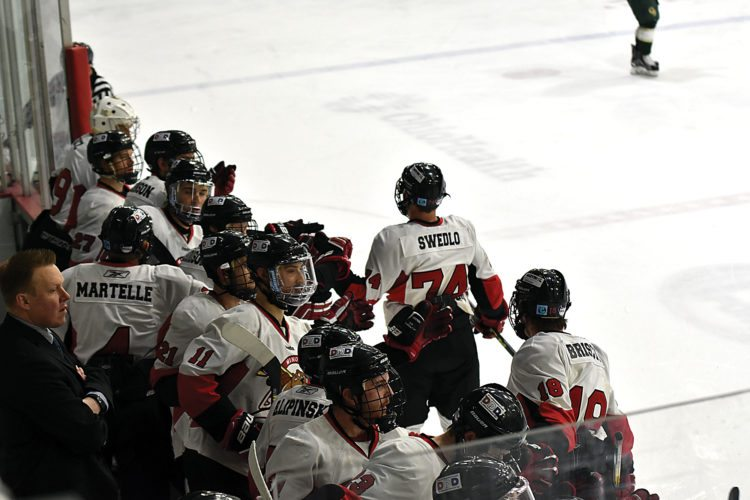 Garrick Hodge/MDN  Minot State's Johl Swedlo (74) and the rest of the Minot State hockey team celebrate after Swedlo a goal at the ACHA national championships last March in Columbus, Ohio.