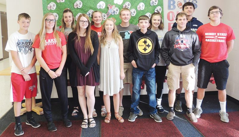 Submitted Photo  The homecoming court at Des Lacs-Burlington includes, from left to right, Riley Eide, Brynley Benno, Kyley Lauf, Ashlyn Knutson, Kayli Olson, Kaylynn Melgaard, Arron Grandy, Steeley Boehm, Mya Knecht, Colton Melgaard, Dante Gunville and Riley Keller. Homecoming will be held Sept. 18-22, with the coronatin scheduled for 2:30 p.m. Sept. 18 at the high school in Des Lacs. The homecoming football game will be at 7 p.m. Friday, Sept. 22 against New Town. A homecoming parade will be held at 4:30 p.m. Friday, Sept. 22 in Des Lacs.