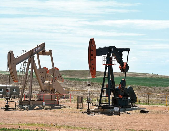 Eloise Ogden/MDN North Dakota's oil production rose slightly in July. These pumping units are in western North Dakota.