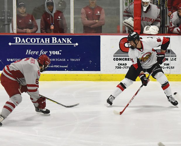 Minot State's Austin Kilian (81) fights for the puck during a college hockey game Saturday at Maysa Arena in Minot.