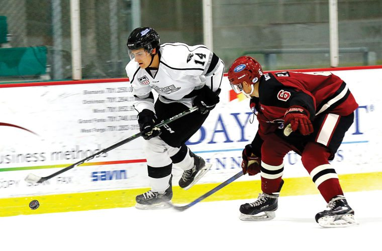 Steve Silseth/Special to MDN Fargo Force's Ryan Savage (14) skates past the stick check of Minotauros' Peter Johnson (6) Sunday at Maysa Arena in Minot.