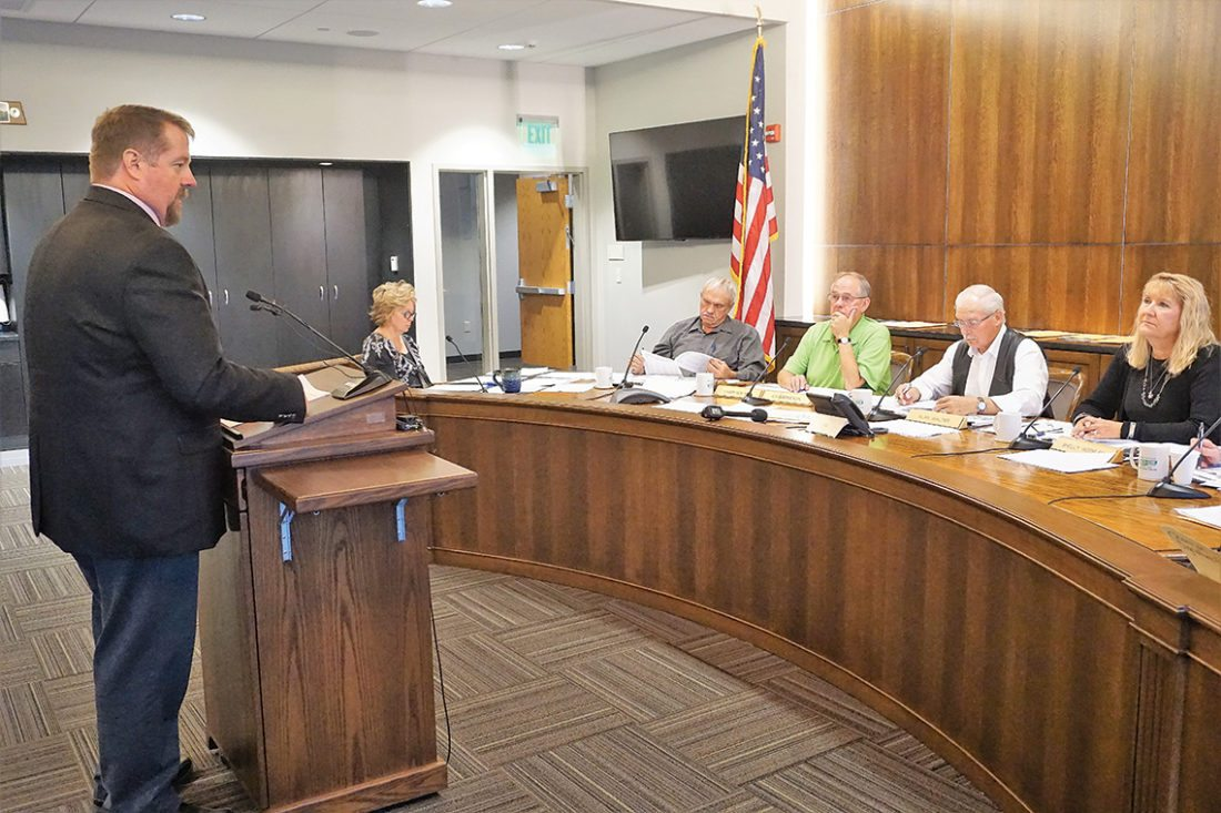 Jill Schramm/MDN Minot Finance Director David Lakefield speaks to the Ward County Commission Tuesday.