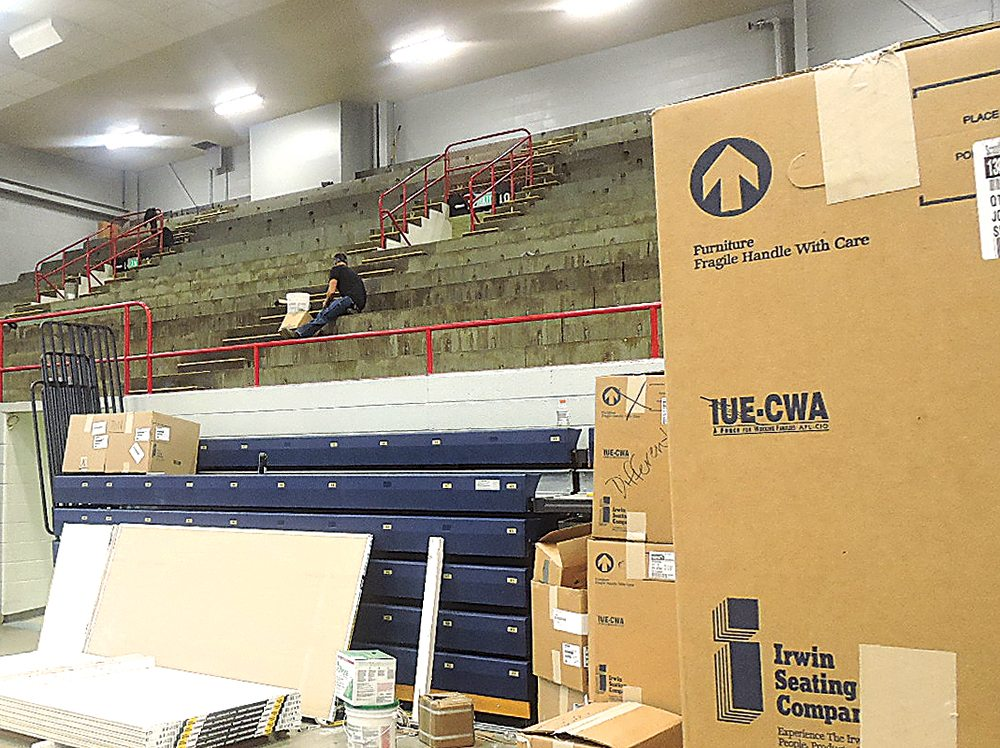 Kim Fundingsland/MDN New upper level seating is in the process of being installed at the Minot Municipal Auditorium. The work is expected to be completed by mid-October.