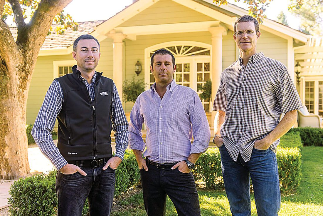 Submitted Photos Dakota Shy team: Pictured from left, manager Ryan Clark, founder Todd Newman and winemaker Tom Garrett at their estate in Napa Valley, Calif.