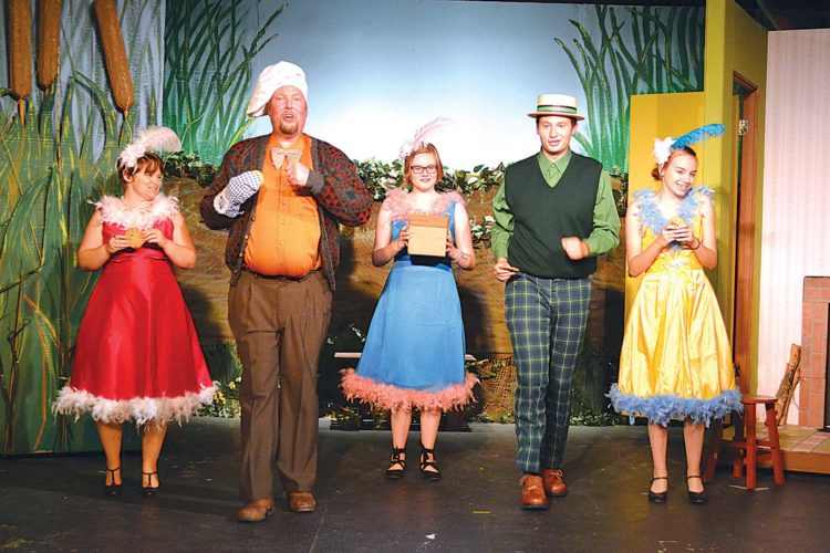 """Performers practice for Mouse River Player's season opening play, """"A Year with Frog and Toad.""""  SubmittedPhoto"""