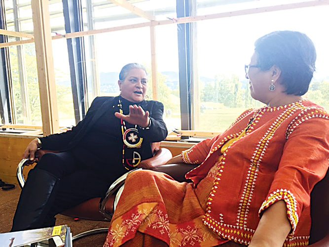 Submitted Photo Dr. Monica Mayer, left, is shown with Victoria Tauli-Corpuz, Special Rapporteur on the Rights of Indigenous People. Mayer, of New Town, addressed the United Nations Human Rights Council in Geneva, Switzerland, on Wednesday.