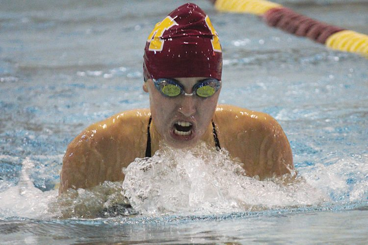 Minot junior Hannah Zaderaka takes the victory in the 200-yard individual medley Thursday in a dual against Williston at Minot High School.