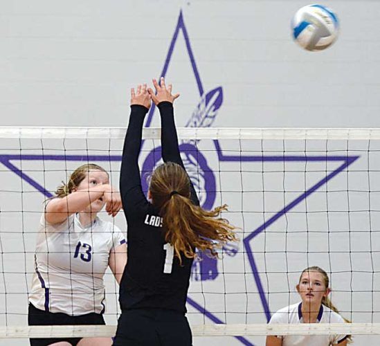 Matthew Semisch/Bottineau Courant Bottineau's Lexi Gullett follows through on a hit during the Stars' 3-1 home victory Thursday over District 11 rival Drake-Anamoose.