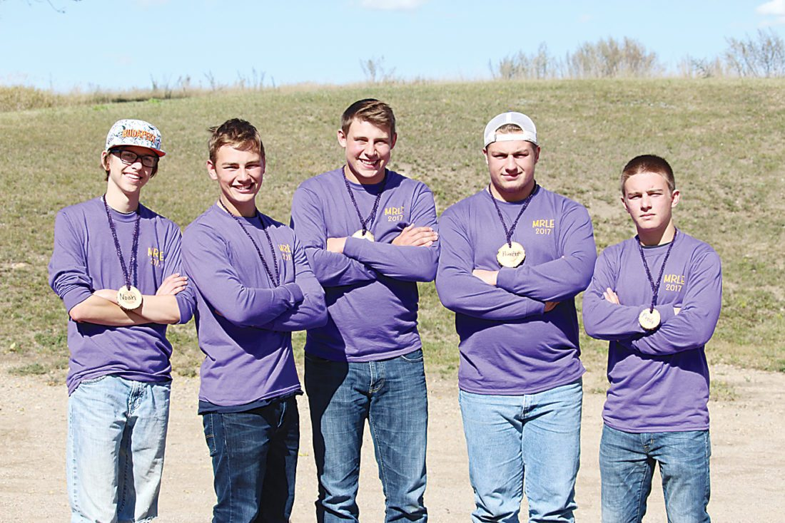 Submitted Photo The Minot High School team called Leafy Spurge won the regional Envirothon competition Wednesday. The team, not in order, consisted of seniors Brody Armstrong, Rhett Pederson, Pat Richardson and Hunter Swartout and junior Noah Christman.