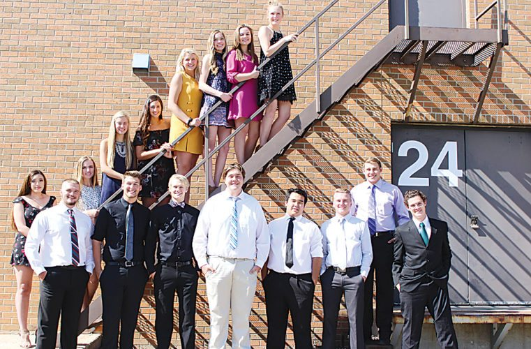 Submitted Photo Hayden Hartley was named the homecoming king and Alyssa Ellet was named the homecoming queen this week at Minot High School-Magic City Campus. Pictured are the homecoming court. Front row, from left to right, are Layne Rouse, Hayden Hartley, Chandler Albertson, Devyn Bollinger, Steven Le, Creighton Rudolph, Patrick Richardson and Dallas Clark. Second row, from left to right, are Alyssa Ellet, Marley Foltz, Brooke Nelson, Maggie Sem, Brenna Tschetter, Elise Klein, Josie Lenertz and Paige Moran.