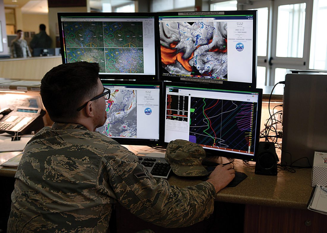 Submitted Photo Airman Connor McDonald, 5th Operations Support Squadron weather forecaster, monitors the weather conditions via satellite at Minot Air Force Base, April 18, shown in this photo by Airman 1st Class Dillon Audit. The 5th OSS weather forecasters create and tailor data to flying and ground assets.