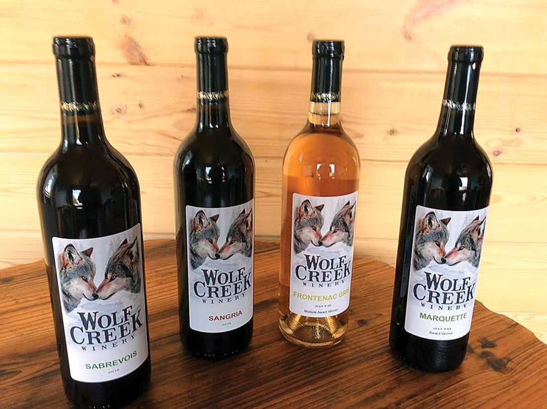 Submitted Photo Wolf Creek Wines are made exclusively from North Dakota grapes grown at the Red Trail Vineyard near Buffalo.
