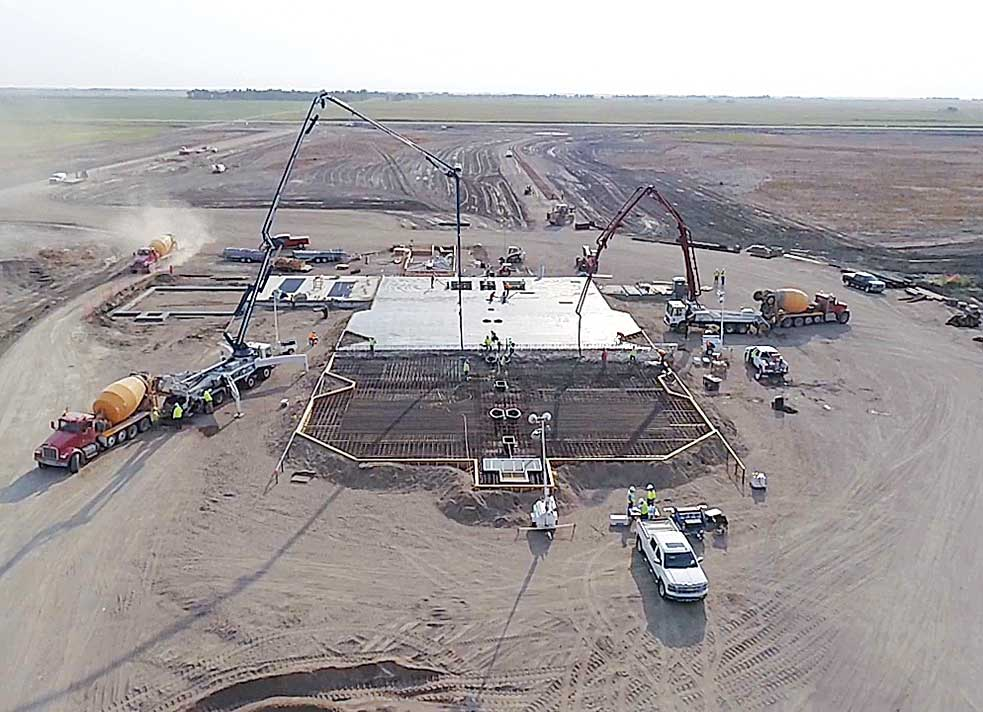 Submitted Photo On Aug. 30, workers began pouring the concrete for the mat slab for the elevator at the U.S. Highway 83 CHS SunPrairie project. Roughly 160 loads of concrete were hauled in for pouring over a 13 to 14-hour window.