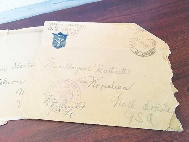 Shyanne Belzer/MDN Mary Murphy presenting the letters written by Lester Hartnett to Minot State faculty members on Oct. 11 in Hartnett Hall.