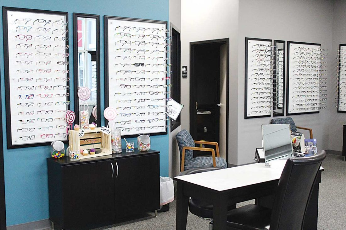 Ashton Gerard/MDN Glasses line the walls of Dr. Haaland's new location in Southwest Minot.