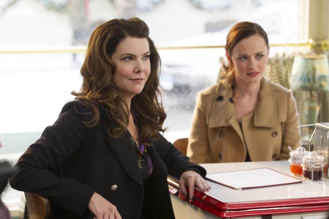 """This image released by Netflix shows Lauren Graham, left, and Alexis Bledel in a scene from, """"Gilmore Girls: A Year In The Life,"""" currently streaming on Netflix. The """"Gilmore Girls: A Year in the Life"""" series currently holds the top spot for binge racing, Netflix says. It's followed by """"Fuller House,"""" """"The Ranch,"""" """"Marvel's The Defenders"""" and """"The Seven Deadly Sins."""" Binge racers are fans who plow through a streaming-network series' entire season in less than 24 hours after the release of all those episodes. (Saeed Adyani/Netflix via AP)"""