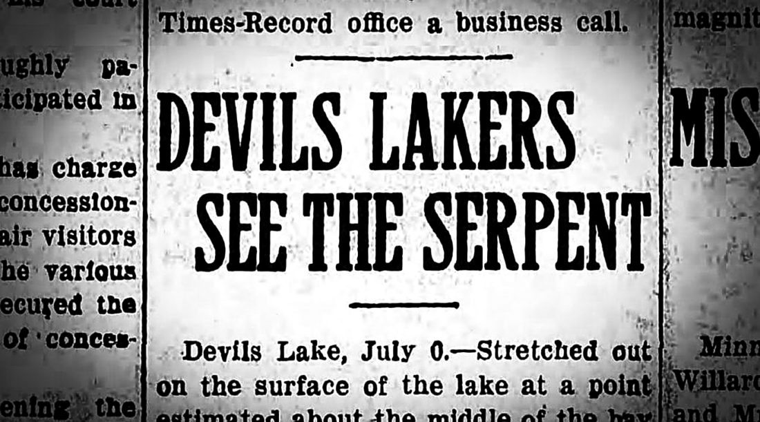 Submitted Photo An undated headline shows proof from past Devils Lake residents witnessing the supposed monster first-hand.