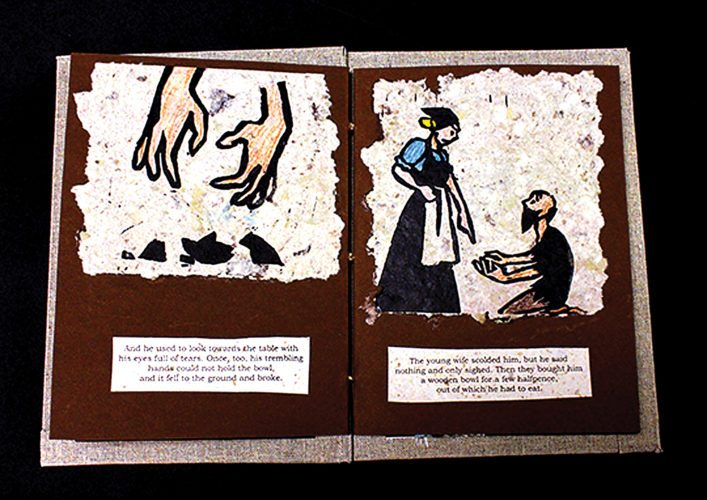 "Illustrations from ""The Old Man and His Grandson,"" a German folk tale presented in one of Maroah Lowry's handmade children's books, on display at the Northwest Art Center's Gordon B. Olson Library Gallery November 7-28.  Submitted Photo"