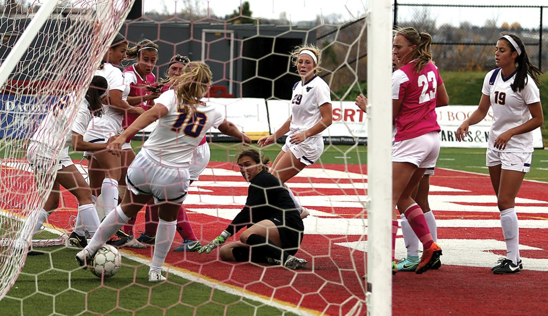 Sean Arbaut/MSU athletics In a goal not given to Minot State in the first half, the ball clearly crosses over the goal line before Minnesota State Mankato's Abby Nordeen (10) can clear it out.