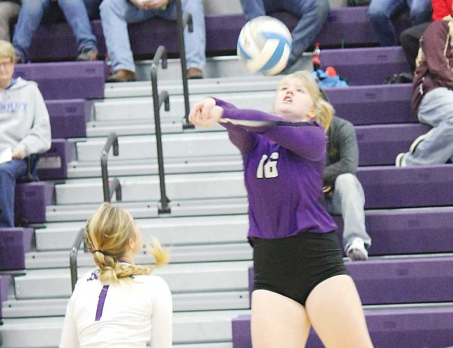Alex Eisen/MDN Lewis & Clark junior Ava Rogers (16) bumps the ball in a District 12 first round tournament match Thursday against Surrey in Berthold.