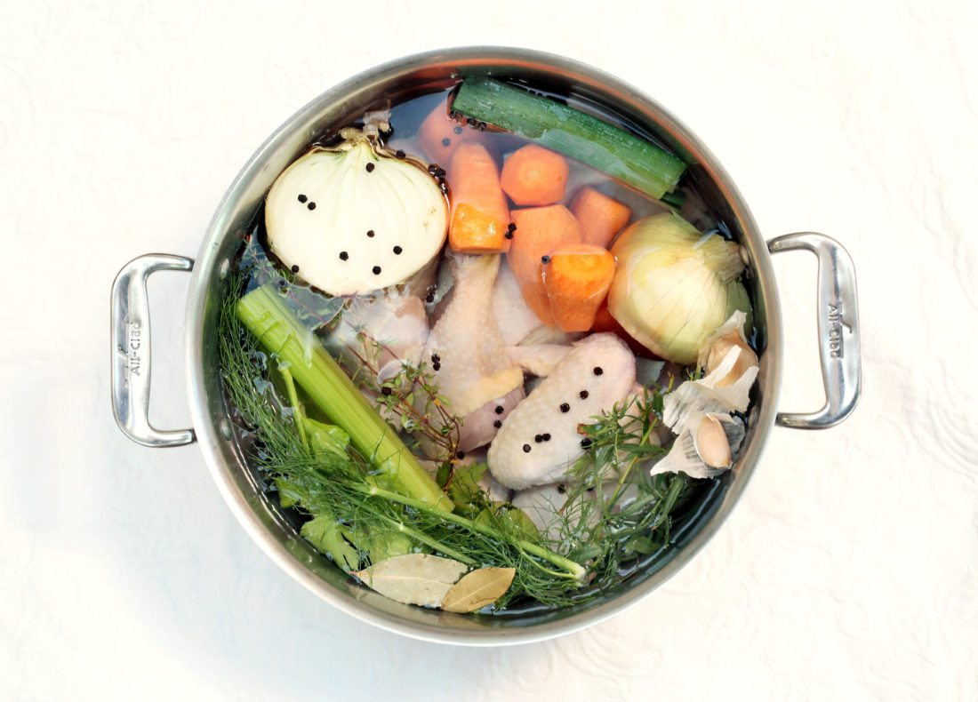 Homemade chicken stock is made with a blend of flavor builders and then cooked for 2-3 hours. Dave Wallis / The Forum