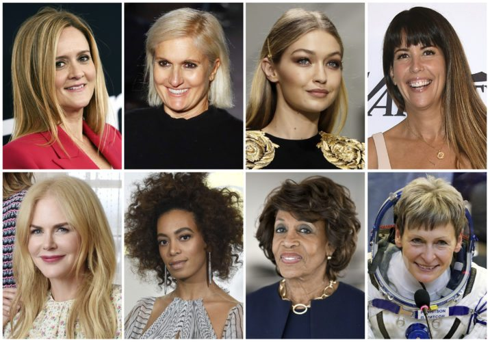 This combination photo shows, top row from left, comedian Samantha Bee, Italian designer Maria Grazia Chiuri, model Gigi Hadid, director Patty Jenkins, and bottom row from left, actress Nicole Kidman, singer Solange Knowles, Rep. Maxine Waters and astronaut Peggy Whitson, who are among Glamour's Women of the Year Honorees. They will be featured in a December spread and honored November 13th at a gala in New York. (AP Photo/File)