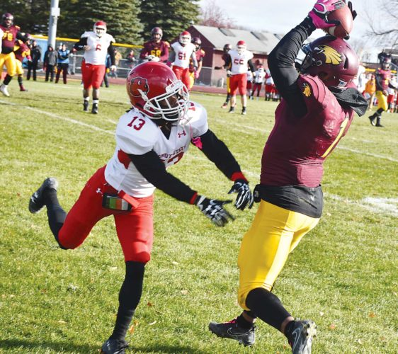 MSU cornerback Kiante Goudeau (13) pushes a Crookston wideout out of bounds during a college football game on Oct. 28 in Crookston, Minn.  Photo courtesy of  Farhan Mohamed