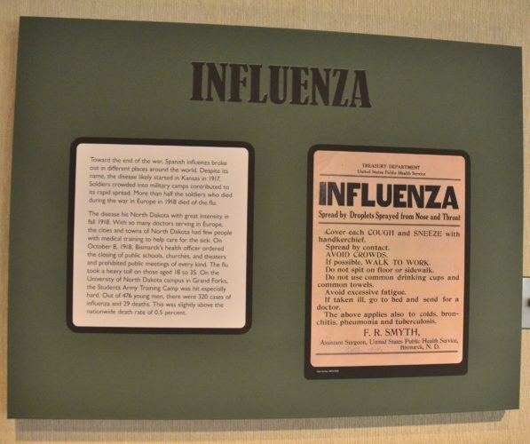 Eloise Ogden/MDN A World War I exhibit in the James E. Sperry Gallery at the North Dakota Heritage Center & State Museum in Bismarck includes information about the Spanish flu that hit North Dakota in 1918.