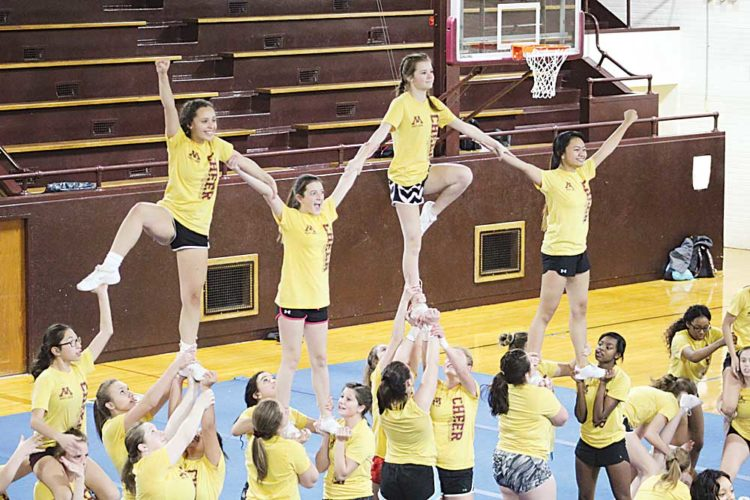 Ashton Gerard/MDN The Minot High School championship cheer team practice their stunts Tuesday at Central Campus. The team could potentially earn their fifth straight state title on Saturday.