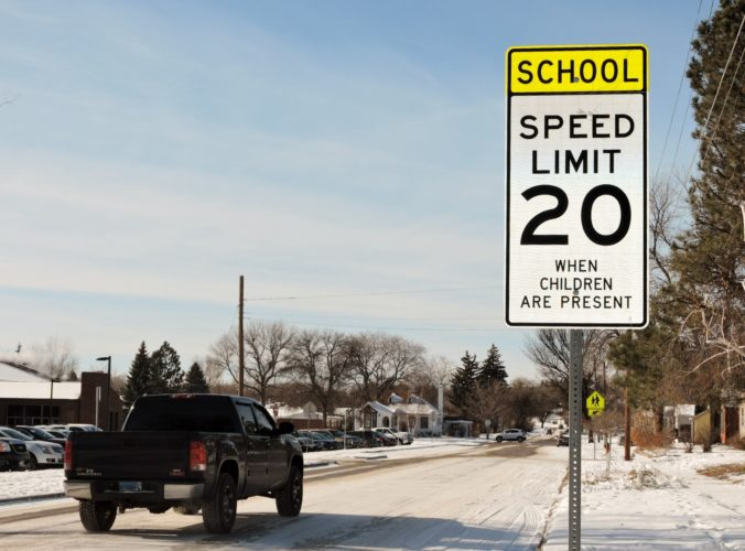 Kim Fundingsland/MDN The posted speed limit for motorists in designated school zones throughout the city is 20 miles per hour. This photograph was taken near Longfellow School in northwest Minot.