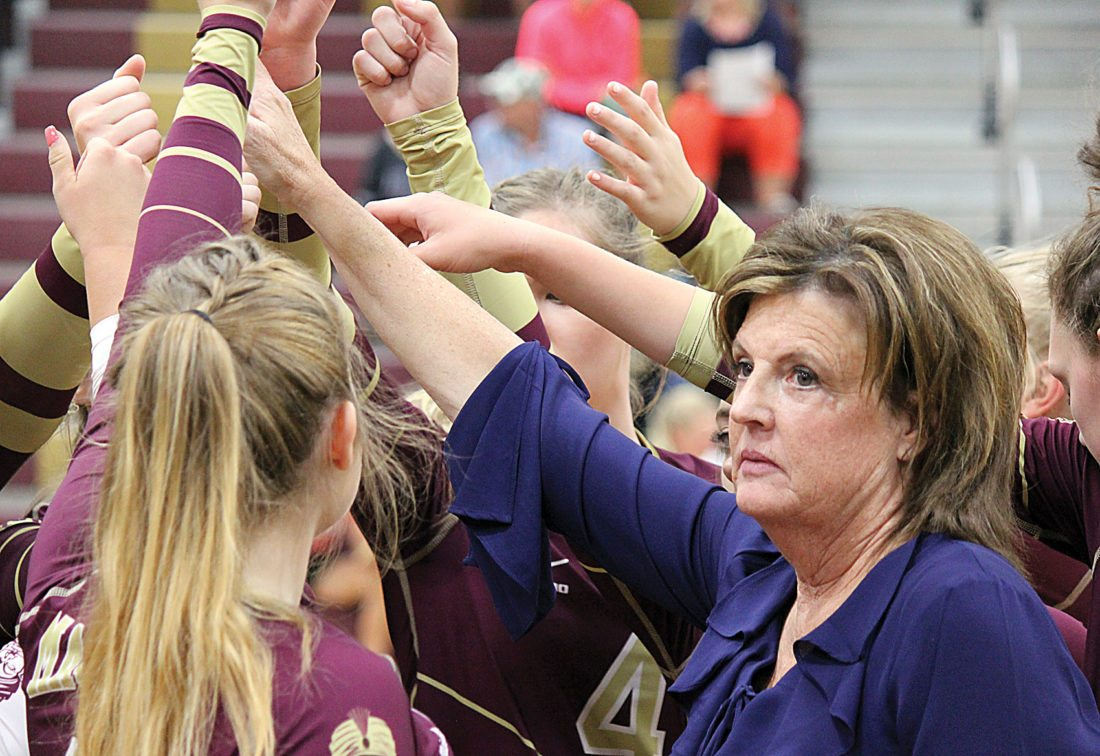 Alex Eisen/MDN Majettes volleyball coach Sherry Carlson after addressing her team during a timeout in a match played earlier this season in Minot. Carlson was named the WDA Coach of the Year.