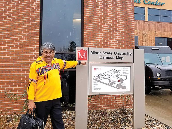 Submitted Photo Dr. Don Bartlette visited Minot State Nov. 1, to begin the Native American Cultural Celebration month. Bartlette spoke on the one person in his community who helped him overcome hardships through love, acceptance and compassion.
