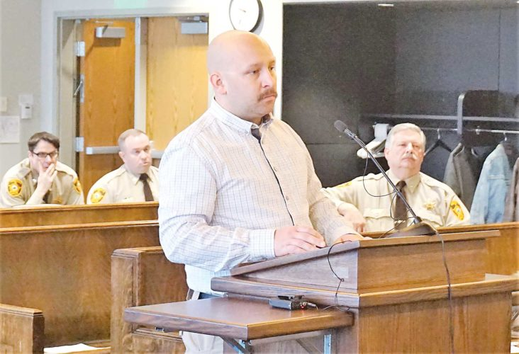 Jill Schramm/MDN Tim Poston pauses in addressing the Ward County Commission Tuesday.