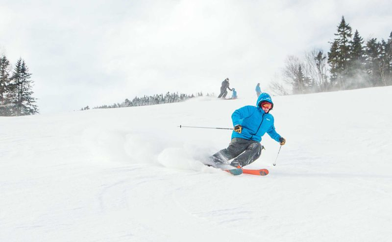 AP Photo A man skis on the snowy slopes of Whiteface Mountain, in Lake Placid, N.Y. The mountain, which has hosted Winter Olympic games in the past, has undergone several upgrades since last season.