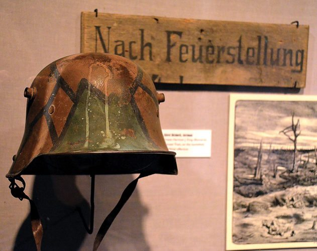 Eloise Ogden/MDN This German steel helmet is in the World War I exhibit in the North Dakota Heritage Center and State Museum in Bismarck. The helmet was found by Pvt. Harmon J. King, Bismarck, 7th Engineer Train, on the battlefield during the St. Mihiel offensive.