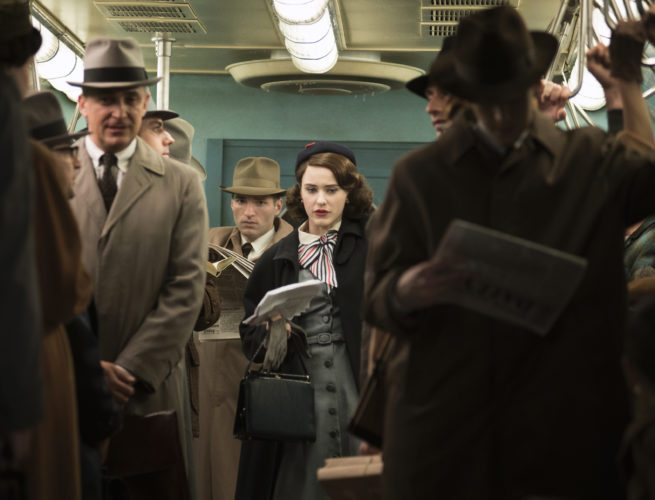"""This image released by Amazon shows Rachel Brosnahan as Midge Maisel in """"The Marvelous Mrs. Maisel."""" (Nicole Rivelli/Amazon via AP)"""