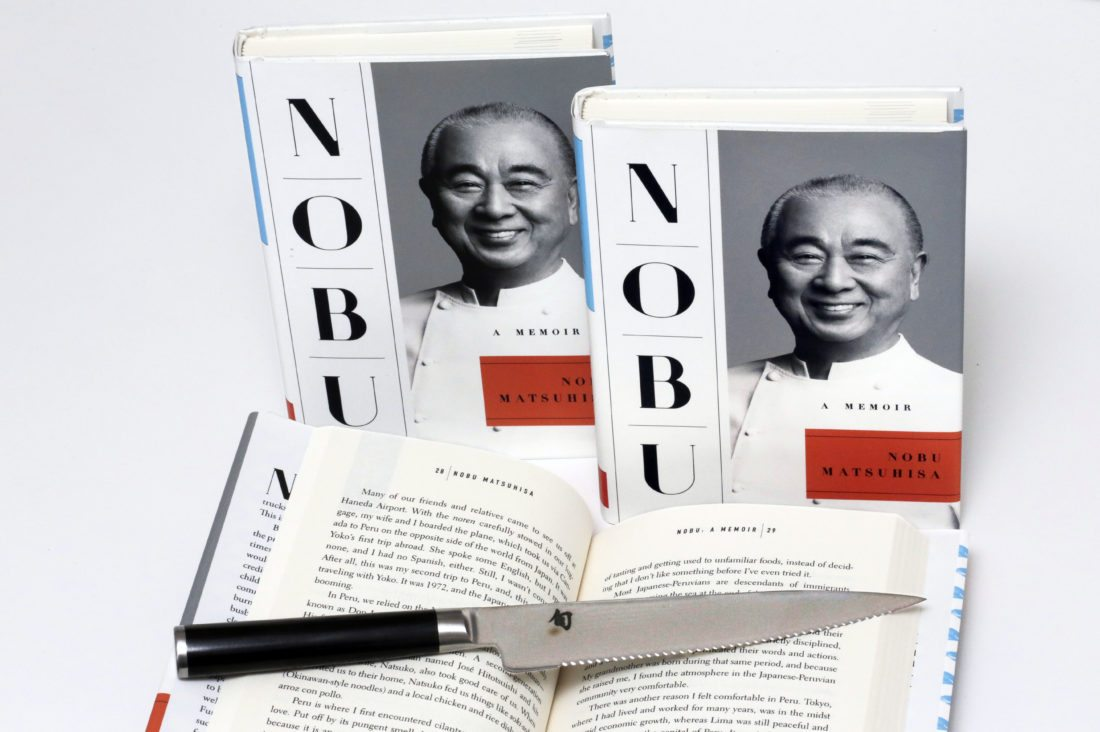 "Chef Nobu Matuhisa's ""NOBU: A Memoir,"" from Atria Books, is photographed in New York, Sunday, Oct. 22, 2017. Nobu is one of the good guys who has become famous by the old-fashioned tenets of being a family man, hard work, passion and perseverance even in the face of adversity. (AP Photo/Richard Drew)"