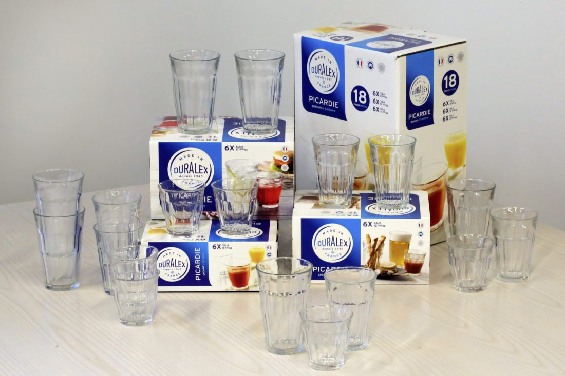 An 18-piece set of Duralex Picardie Tumblers, available from surlatable.com, is photographed in New York, Thursday, Oct. 2, 2017. It is a great gift for anyone who needs new glasses, or for the student or graduate moving into his or her first apartment. (AP Photo/Richard Drew)