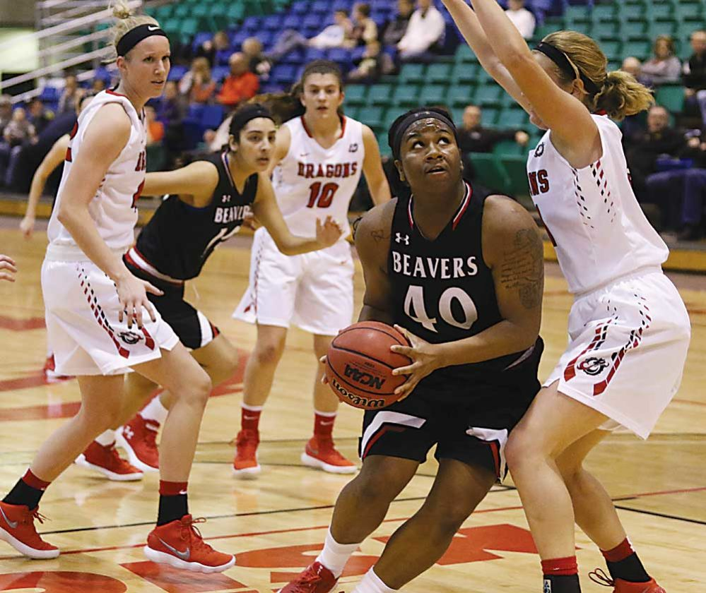 Sean Arbaut/Minot State athletics  Minot State's Kristal Flowers (40) puts up a shot during a women's college basketball game Saturday at the MSU Dome.