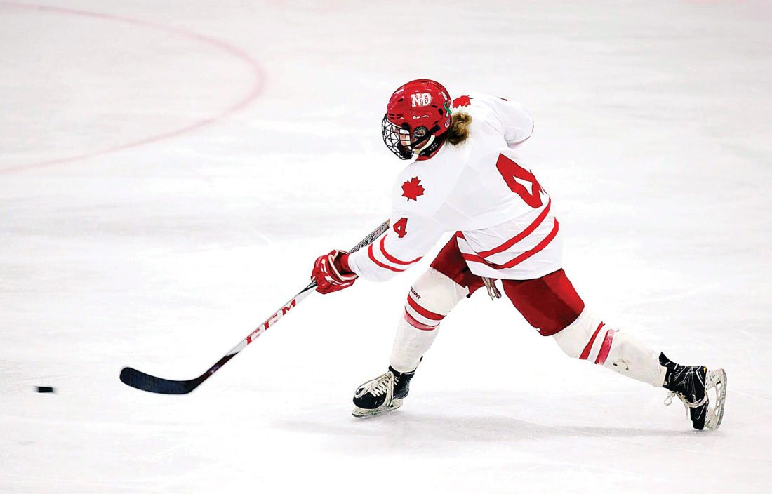 Submitted photo Olivia Hanson takes a shot during a game with the Notre Dame Hounds. Hanson has attended Athol-Murray College of Notre Dame since her freshman year of high school and will go on to attend St. Cloud State in the fall.