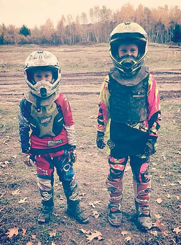 Submitted Photo  Pictured are Jerzee St. Croix (6), of Minot, and Cash Peterson (7), of Ryder. St. Croix and Peterson both race in the North Dakota Motocross Association (NDMA) circuit.