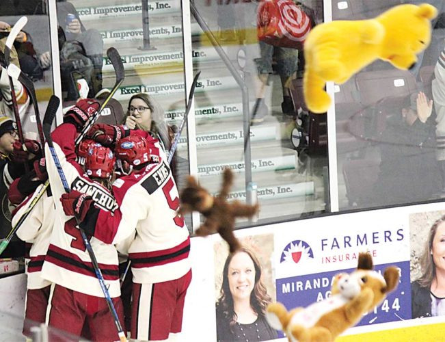 Alex Eisen/MDN The Minotauros celebrate with teddy bears raining down on the ice at Maysa Arena after Miroslav Mucha scored the first goal of the game against the Bismarck Bobcats Friday evening. The teddy bears that were tossed will be donated to the Minot Police Department. Minot won 6-2.
