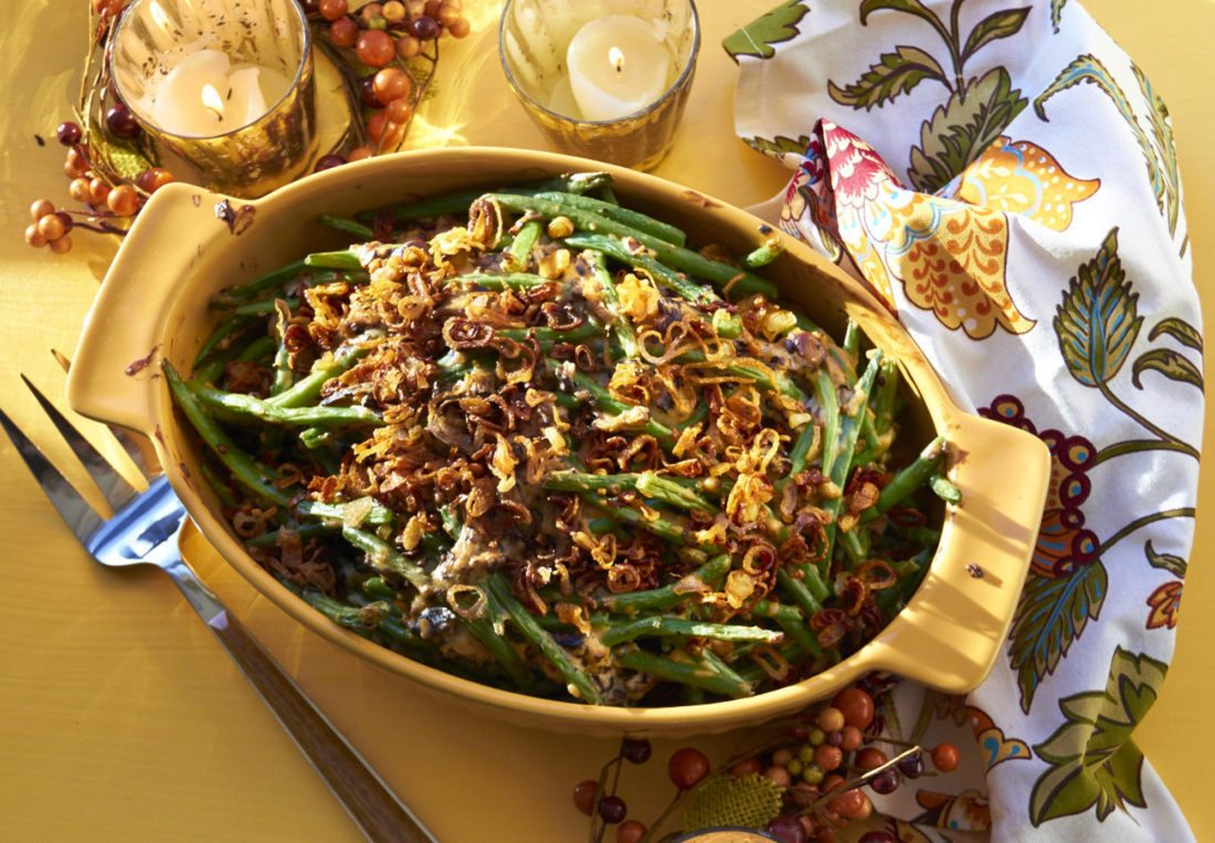 This September 2017 photo shows modern green bean casserole in New York. The sauce is a lovely medley of sauteed fresh mushrooms and a blend of broth and half-and-half. (Mia via AP)
