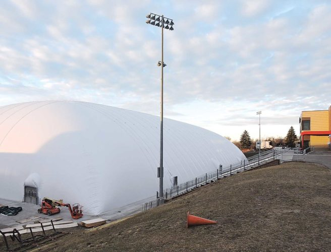 Kim Fundingsland/MDN The air dome, or bubble, has been fully inflated on the campus of Minot State University. Air carriers began pumping hot air into the facility late Monday. This photograph was taken Tuesday morning. The facility was placed over existing artificial turf at Herb Parker Stadium. It is expected the bubble will be used for a variety of activities that could not normally be held due to winter weather. Workers are expected to finish interior items, including lighting, in the coming days.