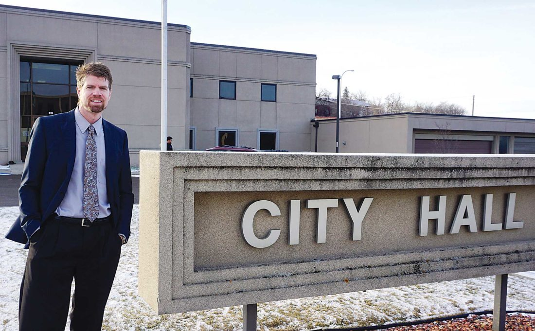 Jill Schramm/MDN Minot City Manager Tom Barry stands outside City Hall Dec. 8.