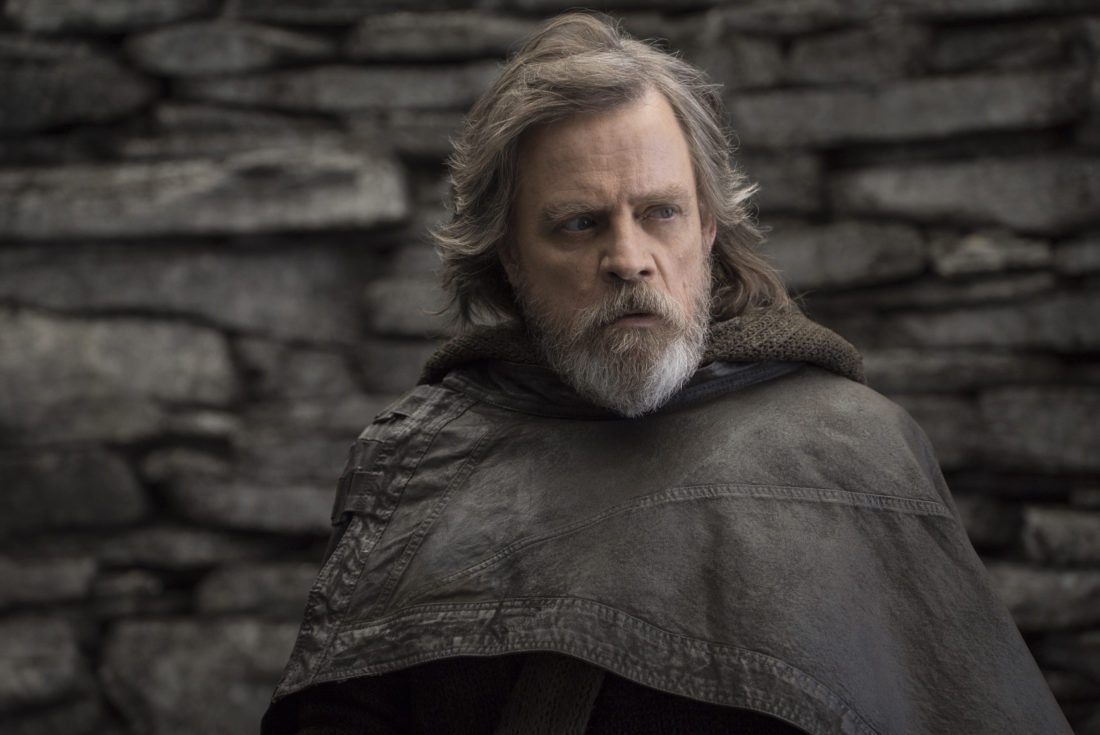 "This image released by Lucasfilm shows Mark Hamill as Luke Skywalker in ""Star Wars: The Last Jedi,"" in theaters on Dec. 15. (John Wilson/Lucasfilm via AP)"