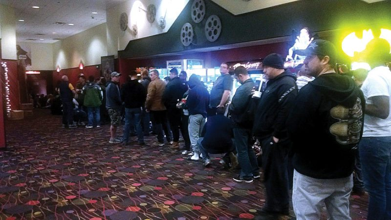 "Michael W. Sasser/MDN People stand in line to see the new Star Wars movie, ""Star Wars: The Last Jedi"" for its opening at AMC Dakota Square 9 in Dakota Square Mall in Minot."