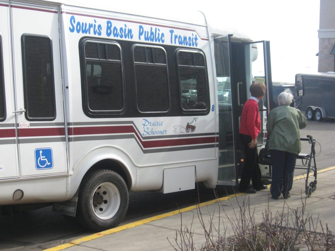 Submitted Photo A Souris Basin Transportation bus drops off Minot residents at Dakota Square Mall. Souris Basin covers seven counties around the Minot area and includes towns like Rugby and Bottineau.