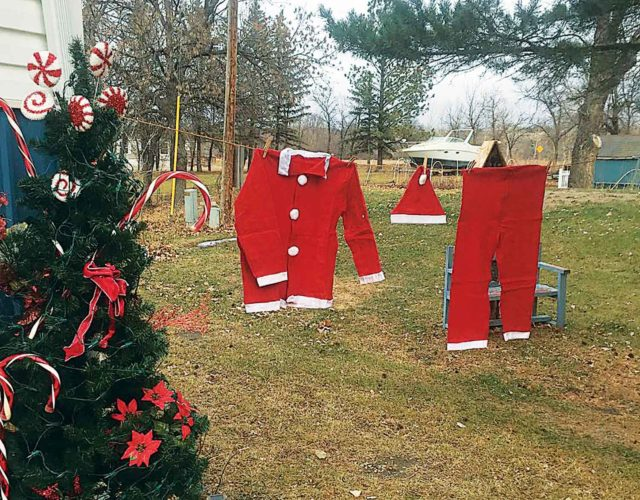 DeLane Krueger submitted this photo of Santa's suit hanging on the line at the Krueger home at Eastside Estates, Minot.